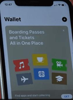 שירות אפל פיי - מסך אפליקציית WALLET