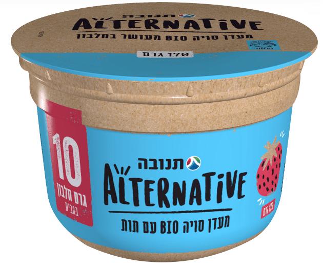מעדן סויה BIO מועשר בחלבון של תנובה אלטרנטיב בטעם תות